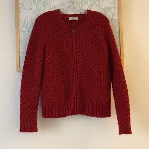 Madewell red chunky zip up cardigan small
